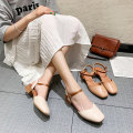 slipper 35,36,37,38,39,40 Weita Off white, apricot Thick heel Middle heel (3-5cm) PU Spring 2020 Baotou rubber daily Adhesive shoes Youth (18-40 years old) Belt buckle PU