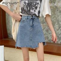 skirt Summer 2020 S M L XL Blue black Short skirt commute High waist Denim skirt Solid color Type A 18-24 years old More than 95% Denim Fan Weier other Korean version Other 100% Pure e-commerce (online only)