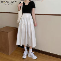 skirt Spring 2021 Average size White black Mid length dress commute High waist A-line skirt Solid color Type A 18-24 years old 71% (inclusive) - 80% (inclusive) Fan Weier cotton Korean version Cotton 71% others 29% Pure e-commerce (online only)