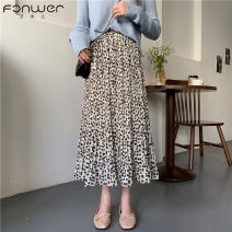 skirt Spring 2021 Average size Black apricot Mid length dress commute High waist A-line skirt Broken flowers Type A 18-24 years old More than 95% Fan Weier other Korean version Other 100% Pure e-commerce (online only)