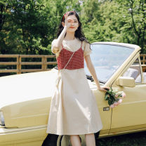 Dress Spring 2021 S M L Mid length dress Two piece set Short sleeve Sweet Crew neck High waist Solid color Socket 18-24 years old Fan Weier 301-1 More than 95% other Other 100% solar system Pure e-commerce (online only)