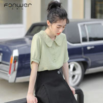 shirt Green white Average size Summer of 2019 other 96% and above Short sleeve Sweet Regular Doll Collar Single row multi button routine Solid color 18-24 years old Straight cylinder Fan Weier 8523-3 Other 100% Pure e-commerce (online only) college