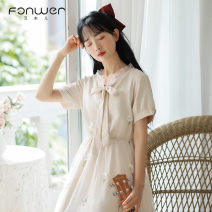 Dress Spring 2021 Apricot green XL L M S Mid length dress singleton  Short sleeve Sweet other High waist Decor Socket other other Others 18-24 years old Type A Fan Weier bow 9360-2 More than 95% other other Other 100% solar system Pure e-commerce (online only)