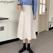 skirt Spring 2021 S M L BEIGE BLACK Mid length dress Sweet High waist Solid color 18-24 years old 5075-1 More than 95% Fan Weier other Other 100% Pure e-commerce (online only) solar system