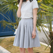 skirt Summer of 2018 Average size grey Middle-skirt Sweet High waist A-line skirt Solid color Type A 18-24 years old More than 95% Fan Weier other zipper Other 100% Pure e-commerce (online only) college