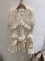 Dress Summer 2020 White, apricot S,M,L,XL Mid length dress singleton  Short sleeve commute V-neck High waist Solid color Socket other routine 18-24 years old Korean version Ruffles, stitching 31% (inclusive) - 50% (inclusive) other