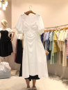 Dress Summer 2021 White, black, pink S,M,L,XL Mid length dress singleton  Long sleeves commute Crew neck High waist Solid color Socket A-line skirt routine 18-24 years old Type A Korean version 51% (inclusive) - 70% (inclusive) other other