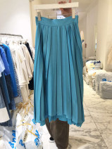 skirt Spring 2021 S,M,L,XL Blue, green, black Mid length dress commute High waist Pleated skirt Solid color Type A 18-24 years old 51% (inclusive) - 70% (inclusive) other Korean version
