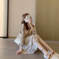 Dress Winter 2020 Apricot Vest + Floral Dress S M L XL Mid length dress Two piece set Long sleeves commute V-neck middle-waisted Broken flowers Socket other routine Others 18-24 years old Type A Love fame and elegance Korean version XL7127 More than 95% other other Other 100%
