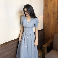 Dress Summer 2020 Pink blue yellow S M L XL longuette singleton  Short sleeve commute V-neck High waist Solid color Socket Big swing puff sleeve 18-24 years old Type A Love fame and elegance Korean version Button HJW19415 More than 95% other Other 100% Pure e-commerce (online only)