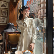 Dress Winter of 2019 Apricot short apricot long S M L XL longuette singleton  Long sleeves commute Polo collar High waist Solid color Socket Pleated skirt routine 18-24 years old Love fame and elegance Korean version Pleated pocket stitching WZY7661 More than 95% knitting other Other 100%