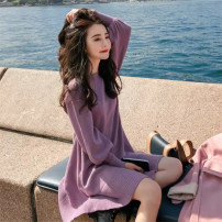 Dress Spring 2020 Apricot purple S M L XL Mid length dress singleton  Long sleeves commute Crew neck High waist Solid color Socket A-line skirt 18-24 years old Type A Love fame and elegance Korean version More than 95% knitting other Other 100% Pure e-commerce (online only)