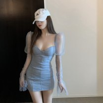Dress Autumn 2020 blue Average size Short skirt singleton  Long sleeves commute Others Korean version 30% and below other