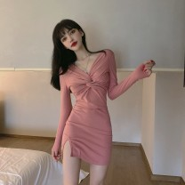 Dress Autumn 2020 Pink, black S,M,L Short skirt singleton  Long sleeves commute V-neck middle-waisted Decor Socket Pencil skirt routine Others 18-24 years old Type X Splicing 31% (inclusive) - 50% (inclusive) brocade polyester fiber