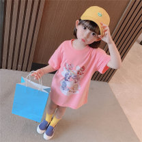 Dress Green, light blue, pink female Other / other 90cm,100cm,110cm,120cm,130cm Other 100% summer leisure time Short sleeve Cartoon animation cotton Straight skirt Chinese Mainland