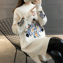 sweater Winter 2020 S M L XL Long sleeves Socket singleton  Regular other 95% and above Half high collar Regular commute routine Cartoon animation Straight cylinder Regular wool Keep warm and warm 18-24 years old You've got to go Embroidery Other 100%