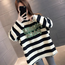 Sweater / sweater Autumn 2020 Black stripe green stripe coffee stripe blue stripe S M L XL Long sleeves routine Socket singleton  routine Crew neck easy commute routine stripe 18-24 years old 96% and above You've got to go Korean version other H00711 Other 100% Pure e-commerce (online only)