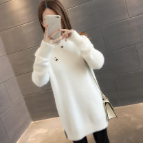 sweater Winter of 2018 S M L XL Long sleeves Socket singleton  Medium length other 95% and above Half high collar thickening commute routine Solid color Straight cylinder Regular wool Keep warm and warm You've got to go Other 100% Pure e-commerce (online only)