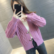 Wool knitwear Autumn 2020 S M L XL Purple Beige orange blue gray Long sleeves singleton  Cardigan other More than 95% Regular routine commute easy V-neck routine Solid color Single breasted Korean version A06099 You've got to go Pocket screw button Other 100%