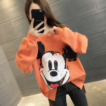 Sweater / sweater Autumn 2020 Orange pink purple yellow blue white S M L XL Long sleeves routine Socket singleton  routine Crew neck easy commute routine Cartoon animation 96% and above You've got to go Korean version other F00053 printing Other 100% Pure e-commerce (online only)