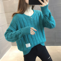 sweater Autumn 2020 S M L XL Lake blue beibai yellow green purple Long sleeves Socket singleton  Regular other 95% and above Crew neck Regular commute routine Straight cylinder Regular wool Keep warm and warm You've got to go A06118 Other 100% Pure e-commerce (online only)