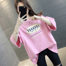 T-shirt Pink Rose White Blue S M L XL Summer 2021 Short sleeve Crew neck easy Regular routine commute other 96% and above 18-24 years old Korean version originality letter You've got to go H01338 printing Other 100% Pure e-commerce (online only)