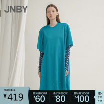 Dress Summer 2020 447 / French turquoise blue, 001 / Ben black, 360 / forest green, 751 / light Xiang yellow XS,S,M,L,XL Mid length dress singleton  Short sleeve commute Crew neck middle-waisted other Socket other routine Others 25-29 years old JNBY / Jiangnan cloth clothing Simplicity 5K3511400
