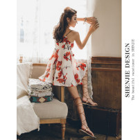 Dress Spring 2021 Picture color S M L Short skirt singleton  Sleeveless Sweet V-neck High waist Decor Socket A-line skirt routine camisole 25-29 years old Type A Shen Jie printing More than 95% other polyester fiber Polyester 100% Bohemia
