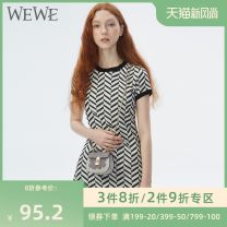Dress Summer of 2019 Black p98276 black p8513 white p8513 light yellow p8513 S160 M165 L170 Short skirt singleton  Short sleeve commute Crew neck middle-waisted stripe Socket A-line skirt routine Others 25-29 years old We / Weiwei lady Wave zipper G53913 More than 95% polyester fiber
