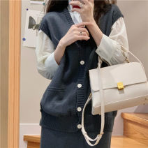 Wool knitwear Winter 2020 Average size With shirt, vest and skirt Three piece set other 71% (inclusive) - 80% (inclusive) Regular routine commute Self cultivation V-neck Solid color Korean version 18-24 years old Button