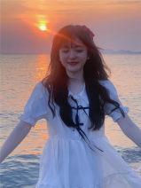 Dress Summer 2021 White, blue Average size Short skirt singleton  Short sleeve Solid color cotton