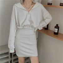 Dress Autumn 2020 white Average size Mid length dress Fake two pieces Long sleeves commute Hood middle-waisted Type X Korean version 31% (inclusive) - 50% (inclusive) other cotton