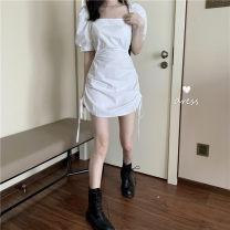 Dress Summer 2020 White, black S, M Short sleeve commute square neck Solid color zipper Princess sleeve Korean version cotton