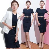 Professional dress suit S,M,L,XL,XXL,XXXL Blue, white, Navy Dress, suit + dress, white one-piece suit Spring 2020 Long sleeves CQ6462 Shirts, coats, other styles QR