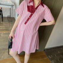 Dress leomami Pink S,M,L Short sleeve Medium length summer Lapel stripe Pure cotton (95% and above) A200324008