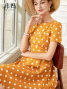 Dress Summer 2020 Ginger dots S M L XL XXL Mid length dress singleton  Short sleeve commute Crew neck High waist Dot zipper Big swing puff sleeve Others 30-34 years old Type A WEMA / Weima Retro Pleated button zipper WL0437K More than 95% polyester fiber Pure e-commerce (online only)