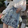 skirt Autumn 2020 XS,S,M,L Light grey blue, light grey blue Short skirt commute High waist A-line skirt Solid color Type A ZQ0S1320 More than 95% Denim Ziqing cotton