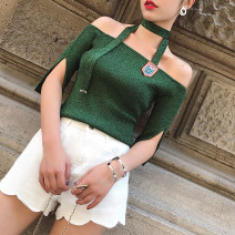 Wool knitwear Summer of 2018 S,M,L Precious blue, dark green, shrimp powder in stock elbow sleeve singleton  Socket Viscose 51% (inclusive) - 70% (inclusive) Super short routine commute Self cultivation One word collar routine other Socket Korean version ZQ17144 25-29 years old Ziqing