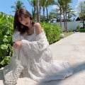 Dress Summer of 2019 white S,M,L Mid length dress singleton  Sleeveless commute other High waist Solid color Socket Big swing other camisole Type A Ziqing Korean version Ruffles, hollowed out, stitched More than 95% other polyester fiber