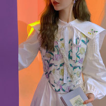 Dress Spring 2021 XS,S,M,L Mid length dress singleton  Long sleeves commute Admiral High waist Solid color zipper A-line skirt routine Others Type A Ziqing More than 95% other cotton