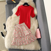 Dress Summer of 2019 Red suit S, M Short skirt Two piece set Short sleeve Sweet Crew neck middle-waisted Solid color Socket Big swing other Others Type A Kakaya Splicing 81% (inclusive) - 90% (inclusive) other polyester fiber princess