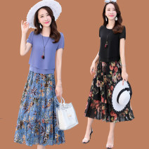 Dress Spring 2021 M,L,XL,2XL,3XL,4XL,5XL Mid length dress Two piece set Short sleeve commute Crew neck middle-waisted Broken flowers Socket Pleated skirt routine Others 40-49 years old Type A lady 51% (inclusive) - 70% (inclusive) Chiffon silk
