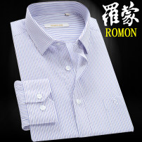 shirt Business gentleman Romon / Romon routine square neck Long sleeves standard daily spring middle age New polyester fiber 60% cotton 40% Business Casual 2021 stripe Color woven fabric No iron treatment cotton Button decoration Easy to wear 50% (inclusive) - 69% (inclusive)