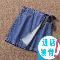 skirt Summer 2020 XS,S,M,L,XL Dark blue Short skirt Versatile High waist A-line skirt Type A 25-29 years old More than 95% Denim Ilukegor cotton