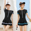 one piece  Xiaofei M,L,XL,XXL,3XL,4XL Black with blue, black with white Skirt one piece With chest pad without steel support Nylon, spandex, others female Short sleeve Casual swimsuit Solid color, others