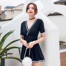 one piece  Nuoximan XL,L,M black Skirt one piece With chest pad without steel support nylon NXM2119 female Short sleeve Casual swimsuit Solid color