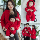 Parent child fashion gules A family of three Female, neutral Other / other winter leisure time thickening Solid color Sweater / sweater cotton Cotton 95% other 5% Class B 12 months, 18 months, 2 years, 3 years, 4 years, 5 years, 6 years, 7 years, 3 months, 6 months, 9 months Chinese Mainland