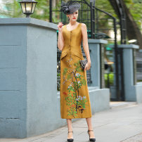 Dress Summer 2021 yellow S M L XL 2XL 3XL 4XL longuette singleton  Sleeveless commute V-neck middle-waisted Decor Socket One pace skirt other Others 40-49 years old Type A Tiffany Runchi Retro DZ1322 More than 95% polyester fiber Polyester 100% Pure e-commerce (online only)