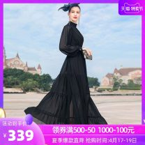 Dress Spring 2021 black S M L XL 2XL 3XL 4XL longuette singleton  Long sleeves commute Half high collar middle-waisted Solid color Socket Big swing other Others 40-49 years old Type A Tiffany Runchi Retro DZ2588 More than 95% polyester fiber Polyethylene terephthalate (polyester) 100%