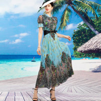 Dress Summer 2021 blue S M L XL 2XL 3XL 4XL longuette singleton  Short sleeve commute Crew neck middle-waisted Decor Socket Big swing other Others 40-49 years old Type A Tiffany Runchi Retro SS9163 More than 95% Chiffon polyester fiber Polyethylene terephthalate (polyester) 100%